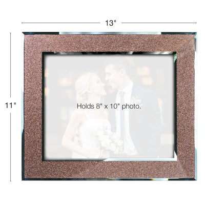 Decorative Picture Frame with Shimmering Rose Gold Glitter Border