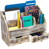 Rustic Wood Office Desk Organizer