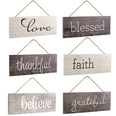Hanging Home Decor Sign with Sawtooth Hook and Jute Hanging Rope (Grateful, Love, Believe, Thankful, Faith, Blessed)