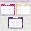 "2020 - 2021 Wall Calendar in Bright Assorted Patterns (12"" x 15"")"