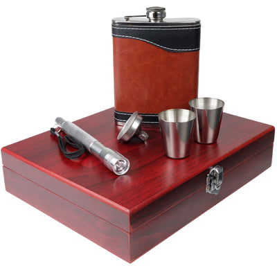 Hip Flasks Gift Set with Funnel, Flashlight, 2 Steel Cups & Wood Box