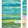 HARDCOVER  2021 Planner - GREEN WAVES (Nov 2020 - Dec 2021)
