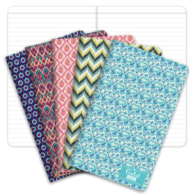 "Field Notebook - 3.5""x5.5"" - Ikat Patterns - Lined Memo Book - Pack of 5"