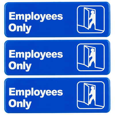 "Employees Only Sign 9""x3"", Pack of 3"