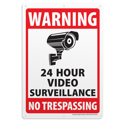 6-Pack Video Surveillance Sign, Rust Free Aluminum Reflective Metal Signs