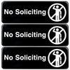 No Soliciting Sign: Easy to Mount with Symbols 9x3, Pack of 3 (Black)