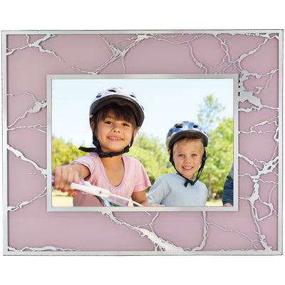 "Decorative Picture Frame 5""x7"" Photo Holder with Pink & Blue Color Swirl Design"