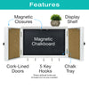 Wooden Rustic Magnetic Chalkboard: Wall Mounted Entryway Cabinet