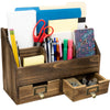 Rustic Wood Office Desk Organizer: Includes 6 Compartments and 2 Drawers