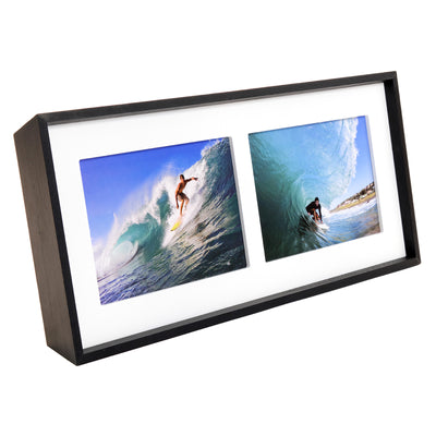 "Modern Double Picture Frame: Holds two 5""x7"" Photos. Freestanding Tilter Wood"
