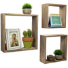 Floating Rustic Wall Shelves: Set of 3 Nested Barnwood Cube Shelves