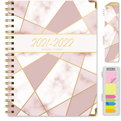 2021-2022 - Hardcover Planner - PINK MOSAIC TRIANGLES FOIL