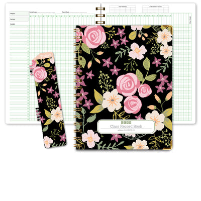 Class Record Book for 9-10 Weeks. 35 Names. Larger Grade Recording Squares. (R1035 - Black Floral) - R1035FT-33