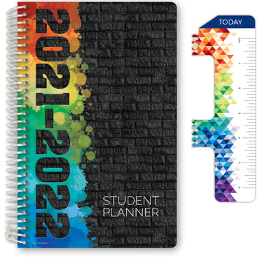 2021-2022 Middle School or High School Student Planner - Block Style - Black Painted Brick Cover