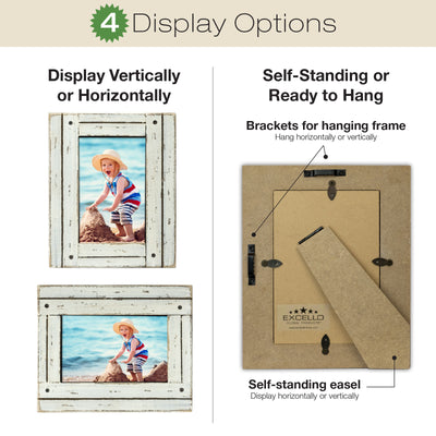 Rustic Shabby Chic White Wooden Picture Frame  (Pack of 2)