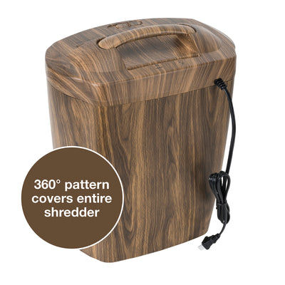 Shredder with Wood Appearance: 10 Sheet, Cross Cut, 5.5 Gallon Bucket
