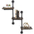 "3-Tier Wooden Wall Ladder Floating Rustic Shelf 35""x40"" With Iron Black Pipe"