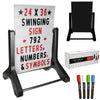 Swinging Changable Message Sidewalk Sign: 24x36 with 792 Double Sided Letters
