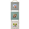 Rustic Three Picture Frame: Holds three 3x3 Photos, Hand Painted, Shabby Chic