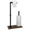 Toilet Paper Holder Stand:Industrial Cast Iron Pipe with Stained Wood 28x15.75