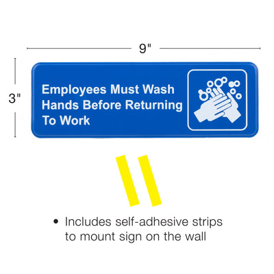 "Employees Must Wash Hands Before Returning To Work Sign: 9""x3"", Pack of 3"