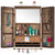 Large Rustic Wall Mounted Jewelry Organizer with Wooden Barndoor Decor (Brown)