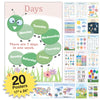 20 Extra Large Educational Posters For Kids Toddlers 16.5x12 (Double Sided English and Spanish) Includes Alphabet Colors Letters Numbers Shapes Months Weather Time Animals Solar System Seasons Map