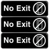 "No Exit Sign: Easy to Mount with Symbols 9""x3"", Pack of 3 (Black)"