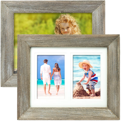 Rustic Barnwood 8x10 Picture Frame Fits 8x10 or 5x7 or 4x6 w/ Matte (Pack of 2)