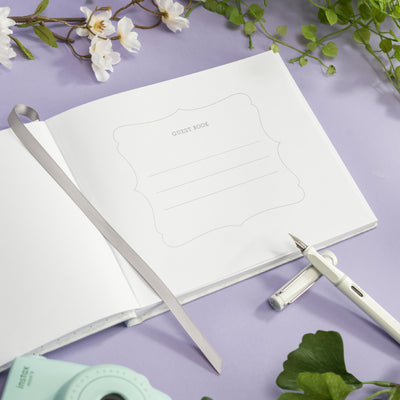 "Wedding Guest Book 9""x7""  (White with Gold Foil)"