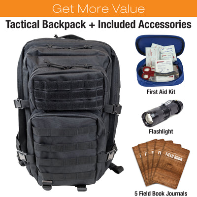 High Capacity Black Tactical Backpack 50L Bundle with 42-Piece First Aid Kit