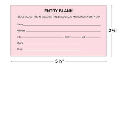 1500 Entry Forms - Includes 15 Blank Raffle Ticket Pads - Perfect for Contest Entry Forms, Raffles, Ballots, Giveaways, Leads, Drawings (Pink)