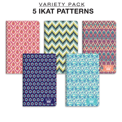 Field Notebook -  Ikat Patterns - Lined Memo Book - Pack of 5