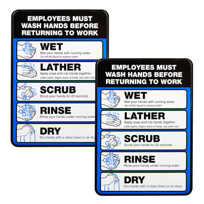 "Employee Must Wash Hand Sign: 5""x7"" Plastic Sign (Pack of 2)"