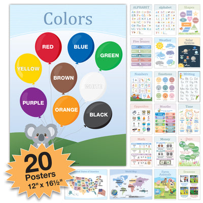 20 Educational Posters For Kids Toddlers Double Sided English and Spanish) Includes Alphabet Colors Letters Numbers Shapes Months Weather Time Animals Solar System Seasons Map