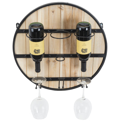Wooden Wall Mounted Wine Rack: Wine Bottle Holder & Wine Glass Holder