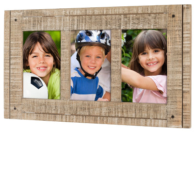 Rustic Three Picture Frame: Holds three 4x6 Photos Overall Size 15.5x9