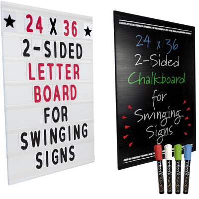 "24""x36"" Replacement Changable Letter Message Board - Black (Pack of 5)"