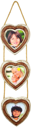 Rustic Heart Shaped 3 Picture Photo Frame Collage: Holds Three 5 x 5 Photos.
