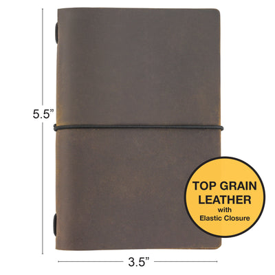 "Handcrafted Top Grain Leather Journal Notebook Cover with 5 Journals (3.5""x5.5"")"