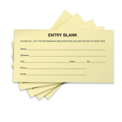 1500 Entry Forms - Includes 15 Blank Raffle Ticket Pads - (Yellow)