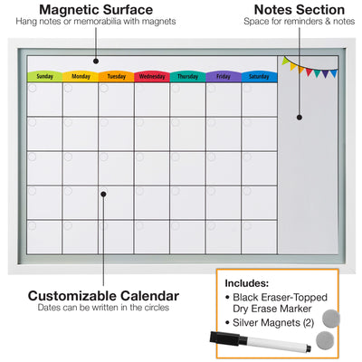 Framed Magnetic Calendar Whiteboard 24x16 with Dry Erase Marker & 2 Magnets