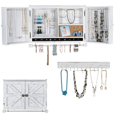 Rustic Wall Mounted Jewelry Organizer with Wooden Barndoor Decor