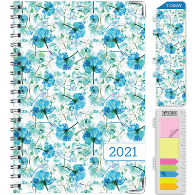 "HARDCOVER  2021 Planner - (Nov 2020 - Dec 2021) Daily Weekly Monthly Planner Yearly Agenda. Bonus Bookmark, Pocket Folder and Sticky Note Set (5.5"" x 8"")"