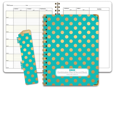 HARDCOVER Lesson Plan and Record Book 8 Period  (PR8-1035 - Gold Dots Turquoise)