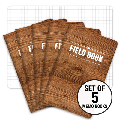"Field Notebook - 3.5""x5.5"" - Wood - Graph - Pack of 5"