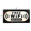 Free WIFI Hotspot Weathered Metal Sign Rectangle Retro Wall Embossed Signage