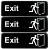 "Exit Sign: Easy to Mount with Symbols 9""x3"", Pack of 3 (Black)"