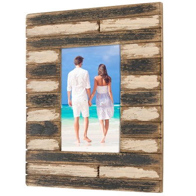 Painted Rustic Wood Picture Frame: Holds a 4x6 Photo: Ready to Hang or Stand