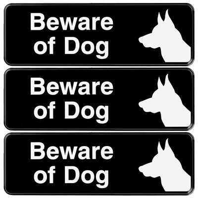 Beware of Dog Sign: Easy to Mount with Symbols 9x3, Pack of 3 (Black)